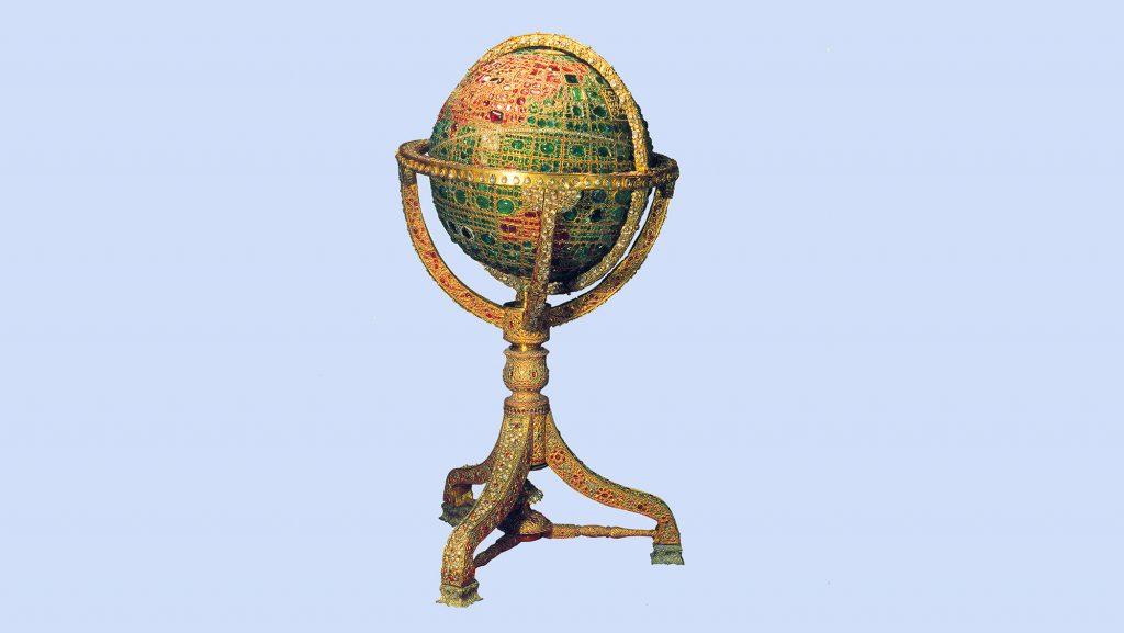 Taş işlemeli dünya küresi